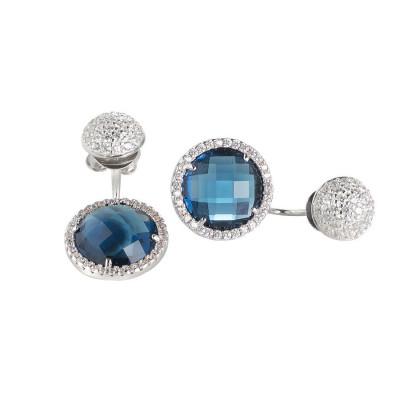 Orecchini reversibili con zirconi e cristalli Montana