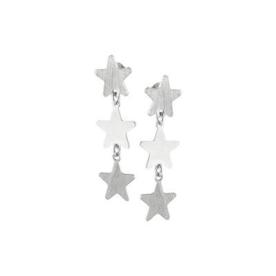 Orecchini rodiati con stelle pendenti