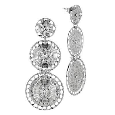 Orecchini con pendenti circolari di ispirazione etrusca e Swarovski