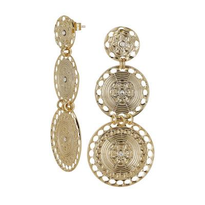 Orecchini con pendenti circolari placcati oro giallo di ispirazione etrusca e Swarovski