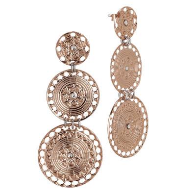 Orecchini con pendenti circolari placcati oro rosa di ispirazione etrusca e Swarovski
