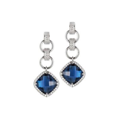 Orecchini con cristallo blue montana pendente e zirconi