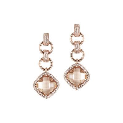 Orecchini con cristallo peach pendente e zirconi