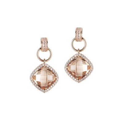 Orecchini pendenti con cristallo peach e zirconi