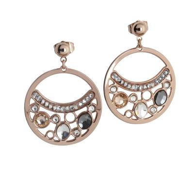 Orecchini placcati oro rosa con pendente a cerchio e cristalli Swarovski
