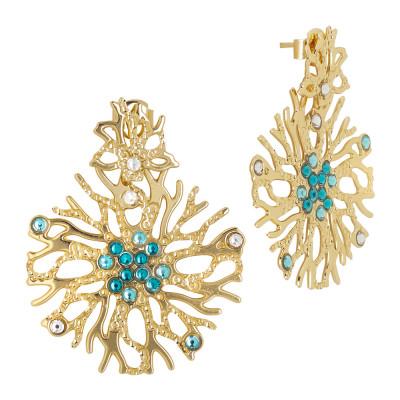 Orecchini corallo e Swarovski verde