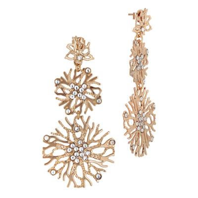 Orecchini corallo pendenti e Swarovski crystal