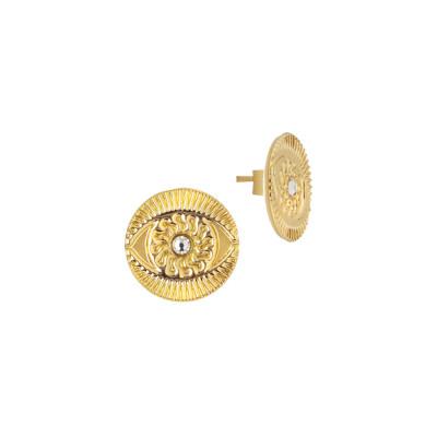 Orecchini a lobo placcati oro giallo con occhio di Horus e Swarovski