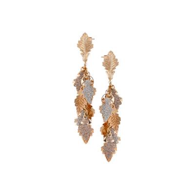 Orecchini a ciuffetto placcati oro rosa con foglie di quercia