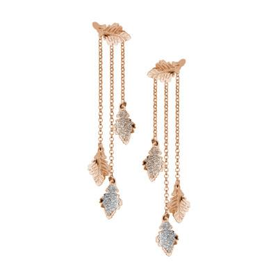 Orecchini placcati oro rosa doppio indosso con foglie di quercia