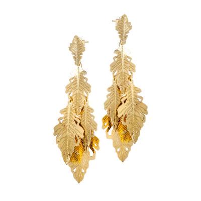 Orecchini placcati oro giallo pendenti con ciuffetto di foglie