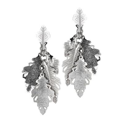 Orecchini rodiati con ciuffetto di foglie di quercia lisce e glitterate
