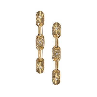 Orecchini modulari placcati oro giallo e Swarovski