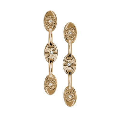Orecchini modulari placcati oro giallo con occhio di Horus e Swarovski