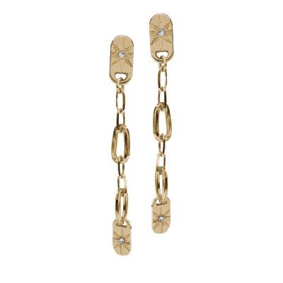 Orecchini placcati oro giallo con catena pendente e Swarovski
