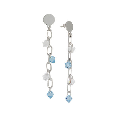 Orecchini pendenti con cristalli Swarovski acquamarina e crystal