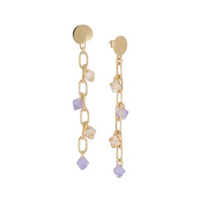 Orecchini pendenti con cristalli Swarovski golden shadow e violet