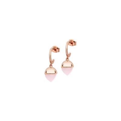 Orecchini mezzaluna con cristalli color quarzo rosa