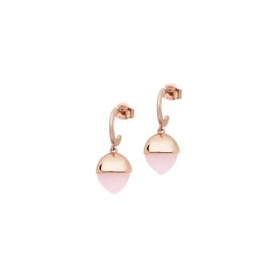 Orecchini mezzaluna con cristallo piramidale color quarzo rosa