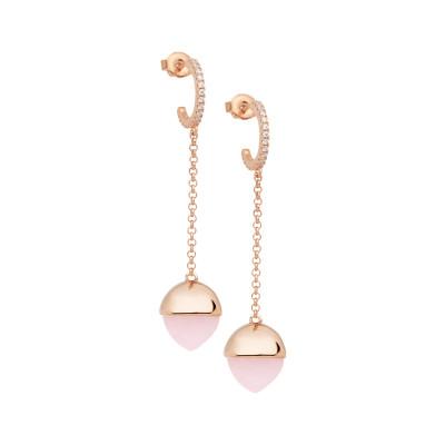 Orecchini mezzaluna con zirconi e cristallo color quarzo rosa