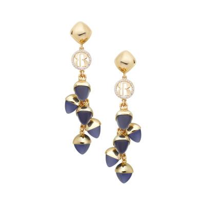 Orecchini con cristalli pendenti color tanzanite