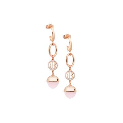 Orecchini mezzaluna con pendente di cristallo color quarzo rosa