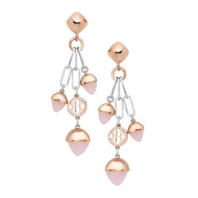 Orecchini con cristalli pendenti color quarzo rosa