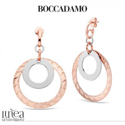 Orecchini placcati oro rosa con pendente circolare concentrico