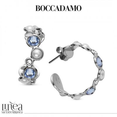 Orecchini mezza luna con Swarovski blue shade, crystal e white pearl