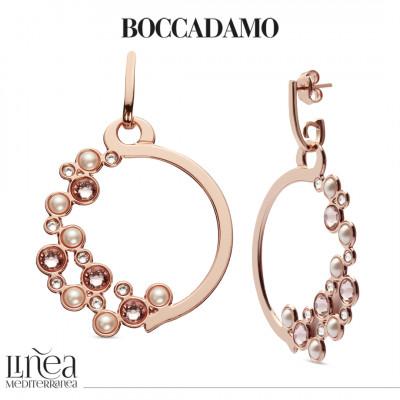 Orecchini circolari con Swarovski crystal, vintage rose e white pearl