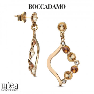 Orecchini pendenti con Swarovski crystal, copper e golden shadow
