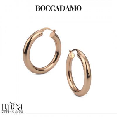 Orecchini a cerchio pieno in bronzo rosa