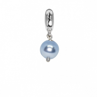 Charm con perla Swarovski light blue