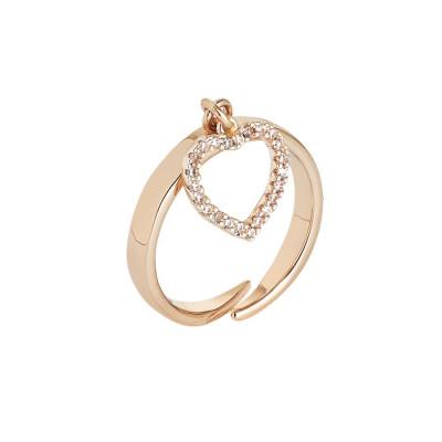 Anello rosato regolabile con ciondolo a cuore e zirconi