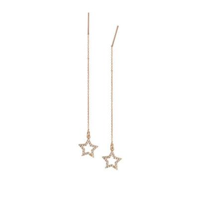 Orecchini saliscendi rosati con stella di zirconi