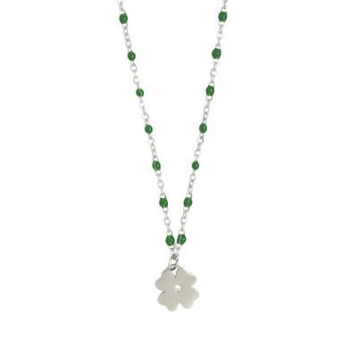 Collana rodiata con elementi smaltati verde smeraldo e zircone