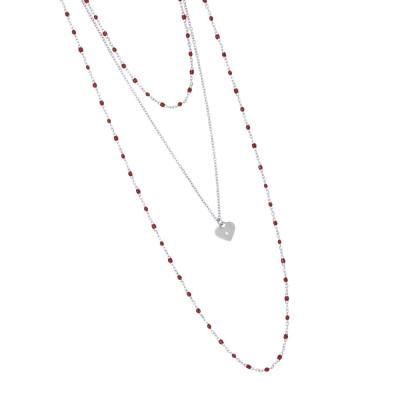 Collana multifilo rodiata con smalto rosso e pendente