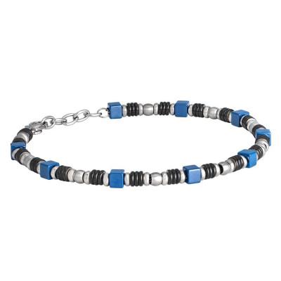 Bracciale in acciaio e ceramica blu
