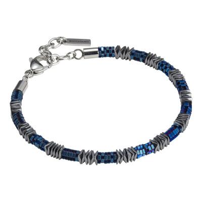 Bracciale uomo con elementi mobili in acciaio blu ed ematite