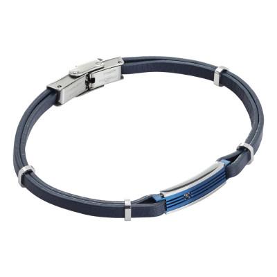 Bracciale in similpelle blu e zircone