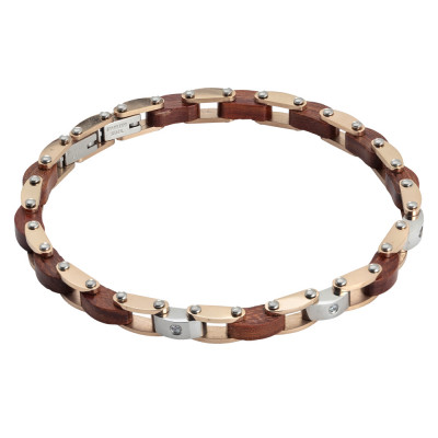 Bracciale a maglie in acciaio bicolor, legno e zirconi