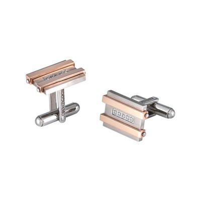 Gemelli in acciaio con rifiniture rosate e zirconi