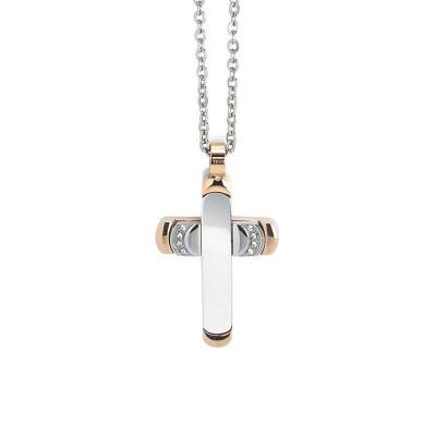 Collana con croce bicolor e zirconi