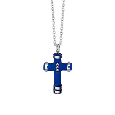 Collana con crocefisso in pvd blu e zirconi
