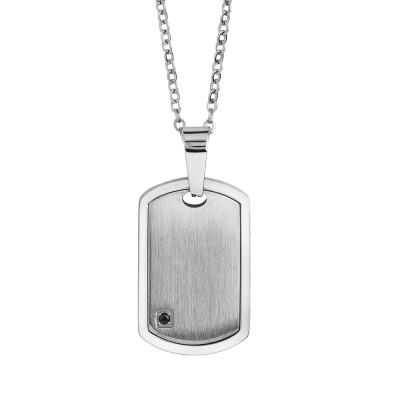 Collana in acciaio con piastrina effetto graffiato e spinello
