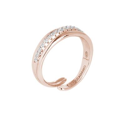 Anello in argento placcato oro rosa con pavè di zirconi