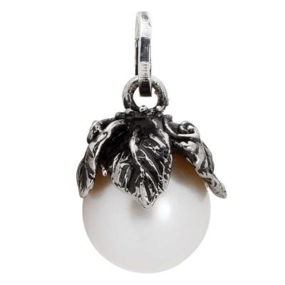 Charm con perla naturale e coppetta foglie