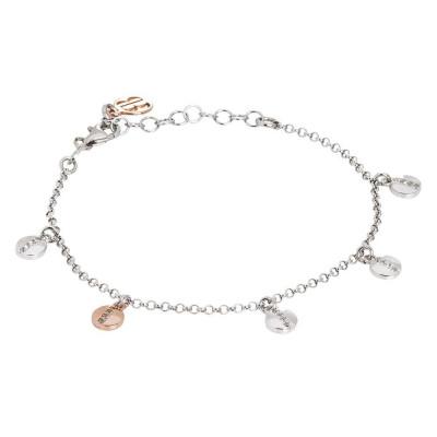 Bracciale in argento con charms circolari bicolor e zirconi
