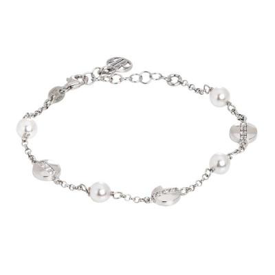Bracciale rodiato con perle Swarovski ed elementi circolari con zirconi