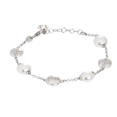 Bracciale con perle Swarovski schiacciate ed elementi circolari con zirconi